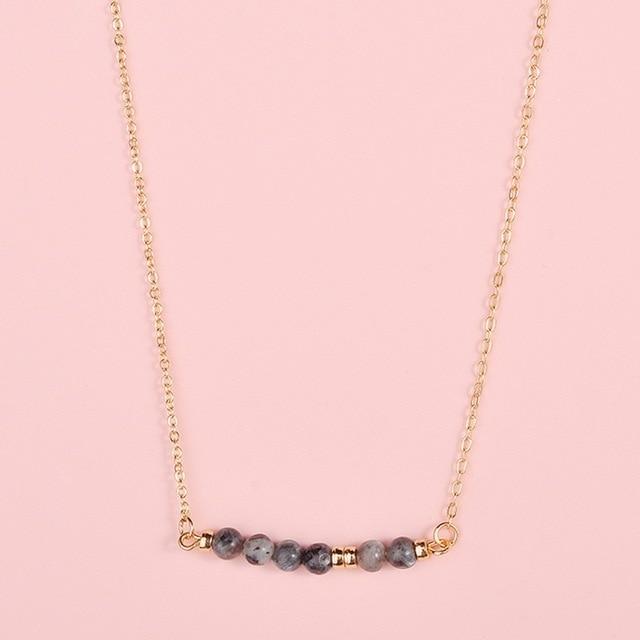 Fashion Jewelry Natural Stones Bar Pendant Choker Necklace Natural Stone Beads Bar Pendant Necklace 1