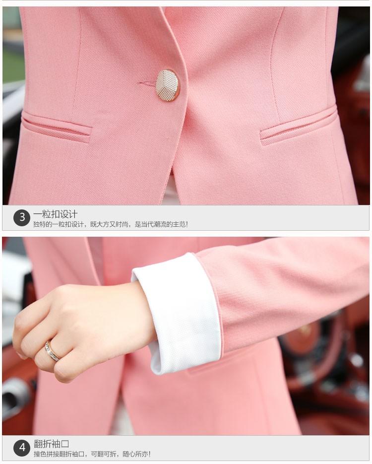 Autumn Spring Chic Office Ladies Stand Collar Blazers Pink Black Jackets For Gentle Women Silm Business Casual Wear Jaqueta Feminina dddddd
