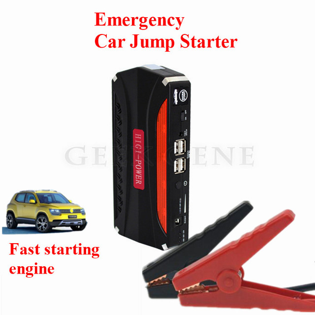 New Capacity 12000mAh 12V Petrol Diesel Car Jump Starter 4USB Power Bank SOS Lights Mini 600A Peak Car Engine Starter Free Ship