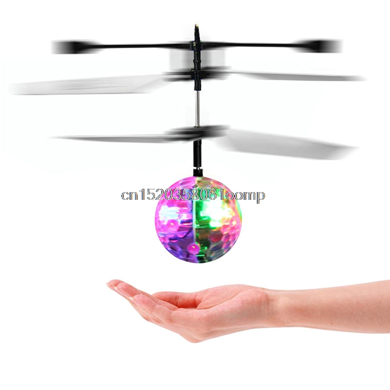 Hot! Flash Flying Ball Infrared Induction Colorful LED Disco RC Helicopter kids Toy #K4UE# Drop Ship