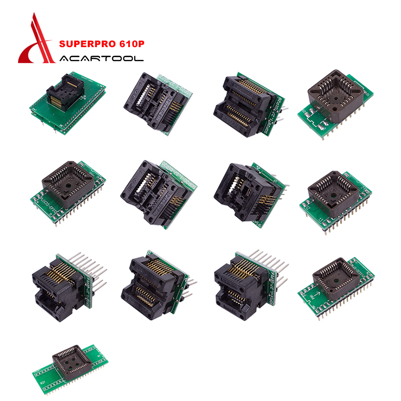 все цены на 13pcs Adapter For Superpro Xeltek 610P USB ECU Programmer Burn Block Xeltek USB Superpro 610P Adapter Superpro Xeltek Adapter онлайн