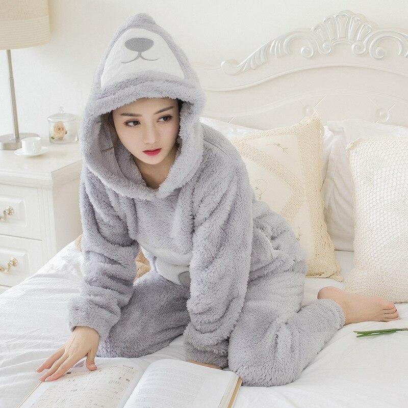 d5f36824de JRMISSLI Pijamas de Mujer Pijamas suaves de Mujer con capucha de lana de  Coral conjunto de Pijamas de dibujos animados mantener caliente ropa de  dormir para ...