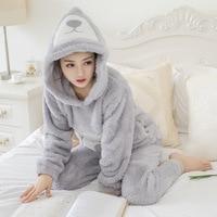 Jrmissli Для женщин Пижама Мягкая Пижама Mujer с капюшоном из кораллового флиса мультфильм пижамы набор Утепленная одежда пижамы для Для женщин