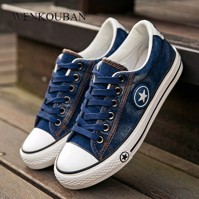 Women Sneakers Casual Canvas Shoes Denim Plus Size Summer Female Stars Trainers Ladies Lace-up Basket Femme Tenis Feminino 2019Women Sneakers Casual Canvas Shoes Denim Plus Size Summer Female Stars Trainers Ladies Lace-up Basket Femme Tenis Feminino 2019