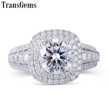 Transgems 14K White Gold Moissanite Double Halo Center 2ct 8mm F Color Engagement Ring for women with Accents