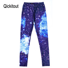 Women Sexy Universe Galaxy Blue Printed Leggings Pants Elasticity Fashion Space