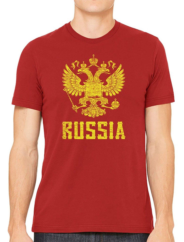 free shipping Short Sleeve Cotton T Shirts Man Clothing O-Neck T Shirt Harajuku Tops Tees Russia Coat Of Arms Mens T-shirt