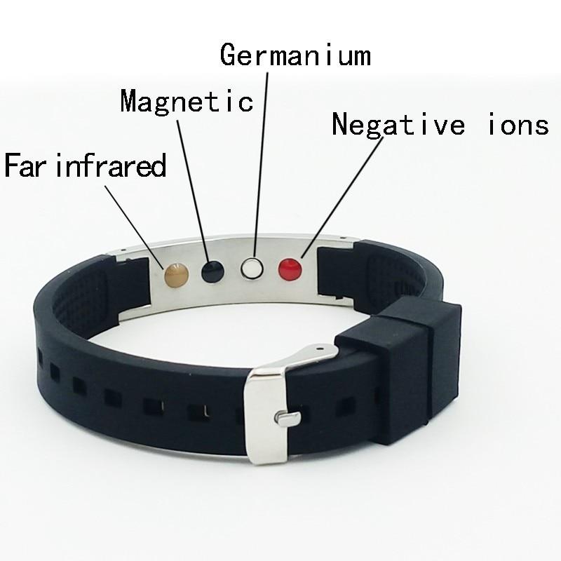 Hot sale energy bracelet with Anion FIR magnet germanium four energy stone health silicone stainless Bracelets hot 1pcs bracelets