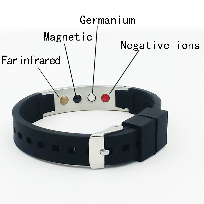 Hot sale energy bracelet with Anion FIR magnet germanium four energy stone health silicone stainless Bracelets