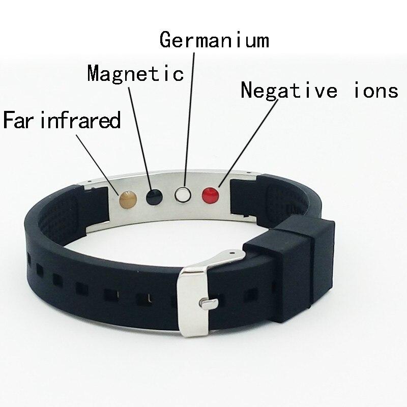 Venda quente energia pulseira com anion abeto ímã germânio quatro energia pedra saúde silicone inoxidável pulseiras