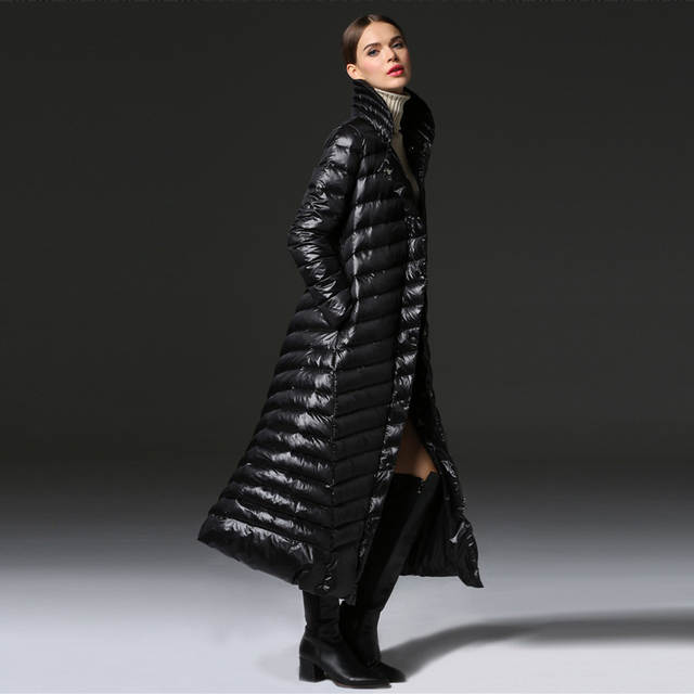 7fbcb060d US $89.86 45% OFF|YNZZU New Women Winter Fashion Down Coat Extra Long Thick  Warm Black Zipper Down Jackets 90% White Duck Down Coat Snow Wear O112-in  ...
