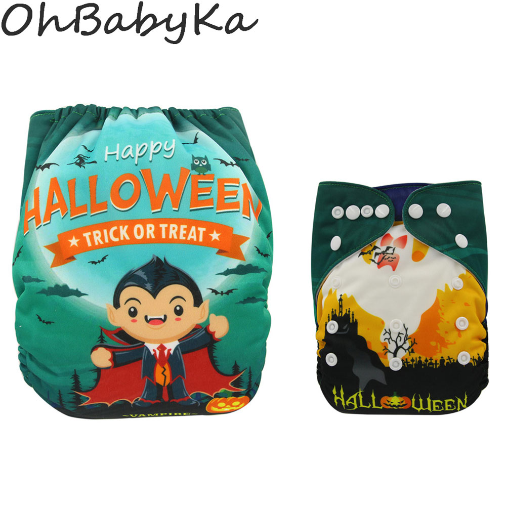 Ohbabyka Waterproof PUL Cloth Diaper Cartoon Digital Position Pocket Diaper with Microfiber Insert Baby Diapering Reusable