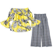 2019 Toddler Outfit Children Clothing Fashion Girl Flared Sleeve Top Plaid Pants Sets