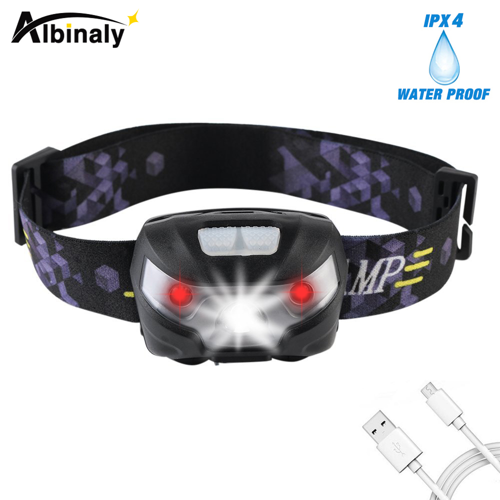 LED Headlamp Rechargeable Running Headlamps USB CREE 5W Headlight Perfect For Fishing Camping Hiking With White And Red Lights