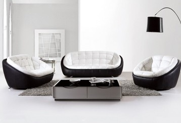 Free Shipping Modern Black And White Creative Genuine Leather Sofa