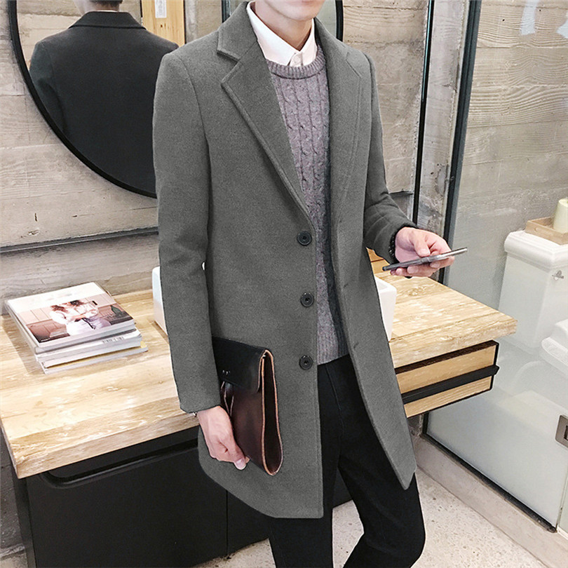 fashion Men Autumn Winter Formal Single Breasted Figuring Overcoat Daily casual Long Wool Jacket Outwear Top #4M25 (4)