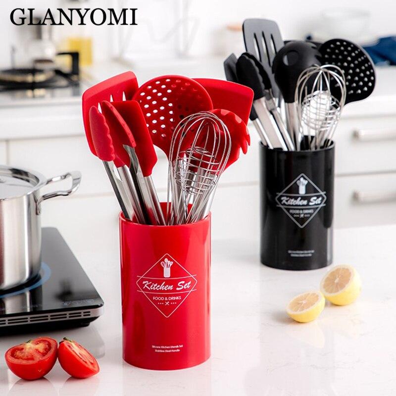 9 pièces acier inoxydable de qualité alimentaire Silicone cuisson cuillère soupe louche-oeuf spatule Turner outils de cuisine ustensiles de cuisine ensemble