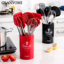 9PCS Stainless Steel Food Grade Silicone Cooking Spoon Soup