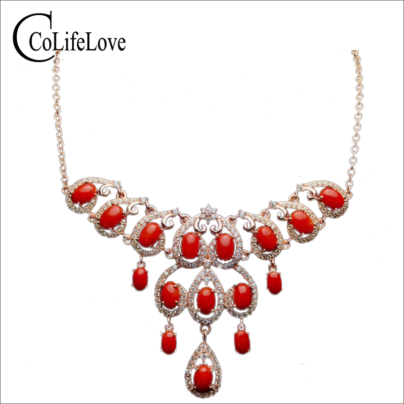 Romantic silver red coral necklace for wedding real natural precious coral silver necklace 925 sterling silver coral jewelry natural red coral with silk knot design necklace