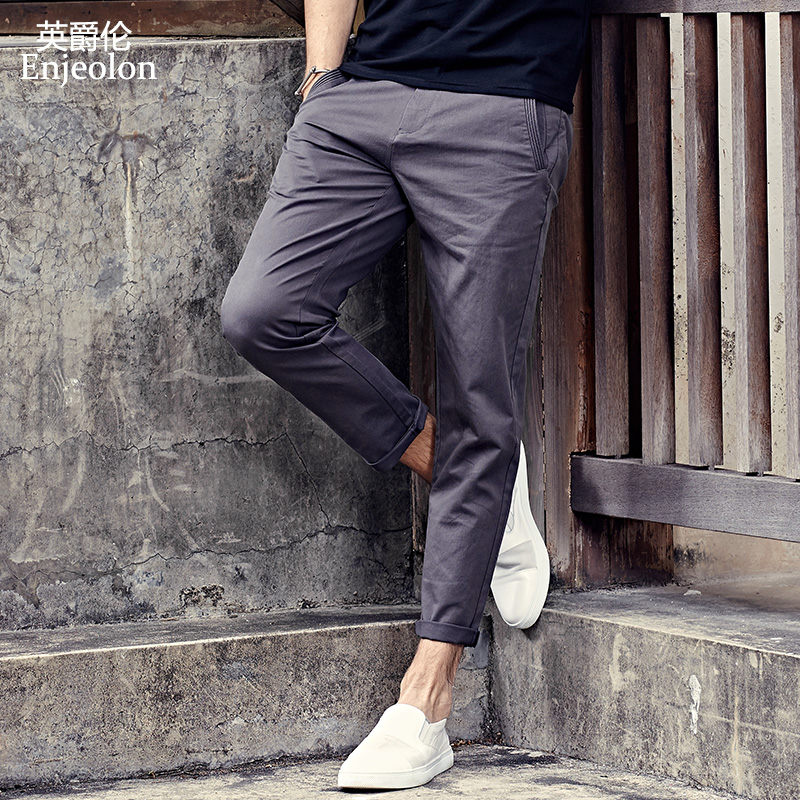 Enjeolon Brand Long Trousers Pants Male Pencil Solid Casual Pants Men Top Quality Clothing Male Pants Causal Clothes K6226