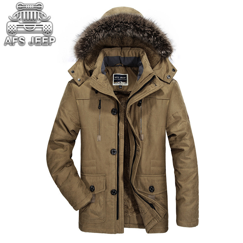 2017 Winter Snow Thick Warm Men Coats and Jackets Down Long Parkas Windbreakers Velvet Loose Brand AFS JEEP Clothing Leisure