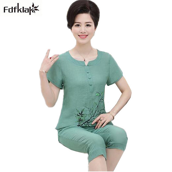 2XL 3XL 4XL Women summer pajamas short sleeve printing cotton linen pajama set ladies sleepwear pijamas pyjama femme coton