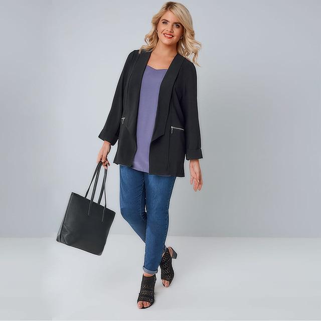 kissmilk 2018 Plus Size Solid Black Office Lady Women Blazers Notched Collar Zipper Long Sleeve Female Big Size Coats Outwears 1