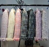 2018 Модные Дизайнеры яркие женские твидовый пиджак шею Ленточки отделкой Длинные рукава боковые карманы