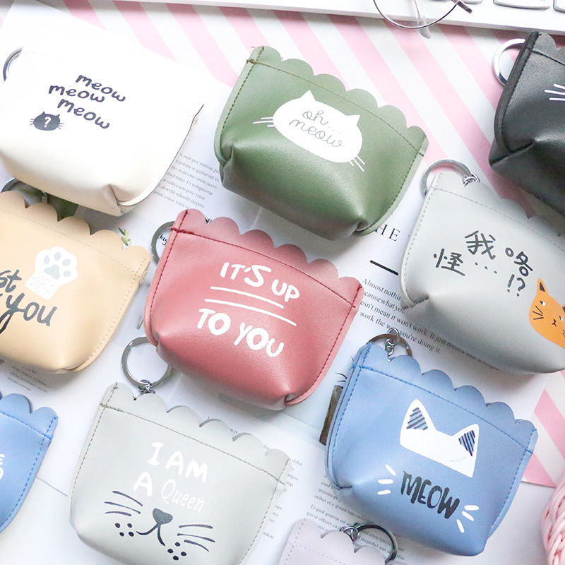 PACGOTH 2018 Spring New Korean Style Cute Dot Pattern PU Leather Coin Purse Mini Cat Animal Prints Coin Cash Money Pouches 1PC