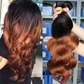 8А Ломбер Бразильские Волосы Два Тона 1b/30 Ombre Человеческих Волос 3 Шт. Rosa Queen Продукты Волос Бразильского Виргинские Волос на Теле волна