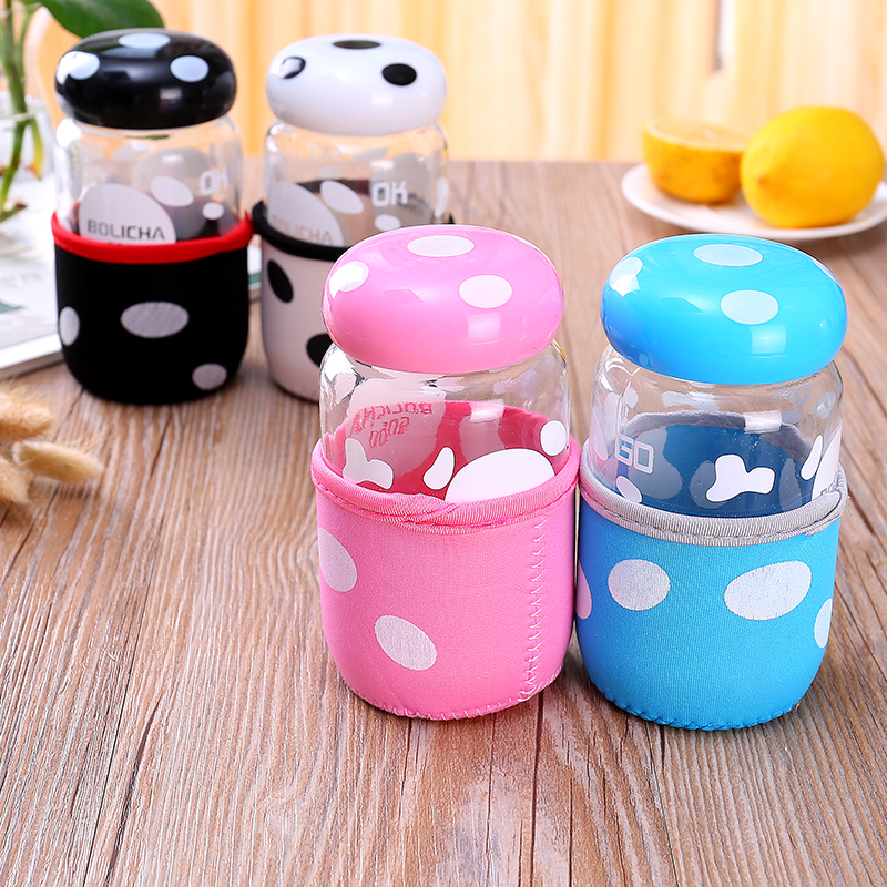 Lovely Glass Cup with Lid Water Bottle Filter Tea Travel Mug Portable Filter Cup Creative Lemon Cup Student Kid Gift