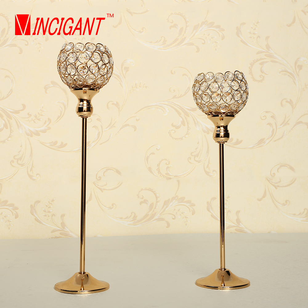 Vincigant Metal Golden Home Decor Crystal Candle Holder