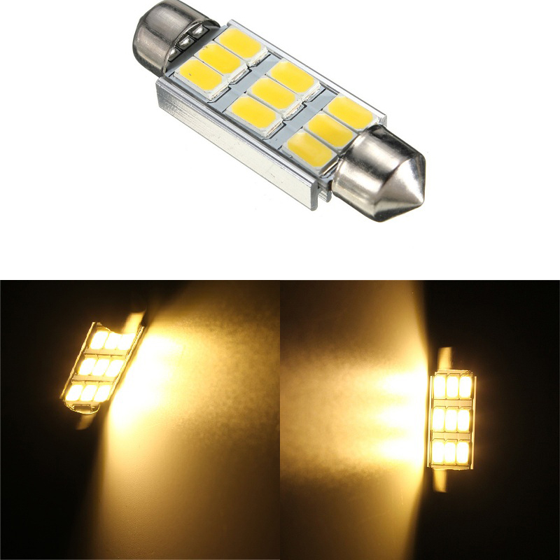 42mm 5630 SMD 9 LED 180LM 3.5W Canbus Error Free Car Auto LED Bulbs Interior Light Dome Festoon Bulb Warm White 3000K AC 12V New 2pcs t10 canbus error free car license plate lights 9 smd led light bulbs 194 w5w auto wedge panel interior light