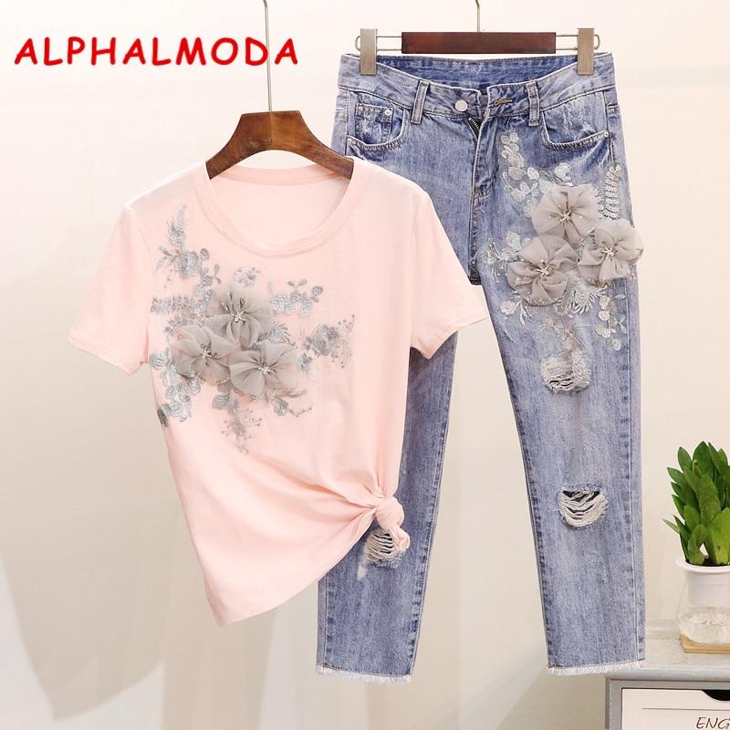 ALPHALMODA Heavy Work Embroidery Flower Tshirts + Jeans Women Summer 2pcs Fashion Suits Vogue Stylish European Fashion Sets