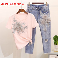 ALPHALMODA Heavy Work Embroidery Flower Tshirts + Jeans Women Summer 2pcs Fashion Suits Vogue Stylish European Fashion Sets