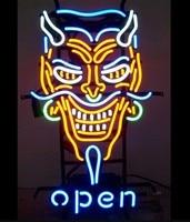 Custom Open Devil Tattoo Glass Neon Light Sign Beer Bar