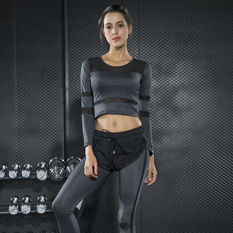 2a960d56fd4 Women Yoga Set Long Sleeve Tracksuit Crop Top Leggings Gym Wear Running  Clothing Fitness Set Ensemble