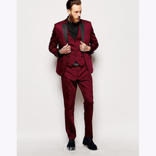High quality one button dark red groom dress terno masculino best mens suit burgundy wedding suits for men (jacket+pants+Vest)