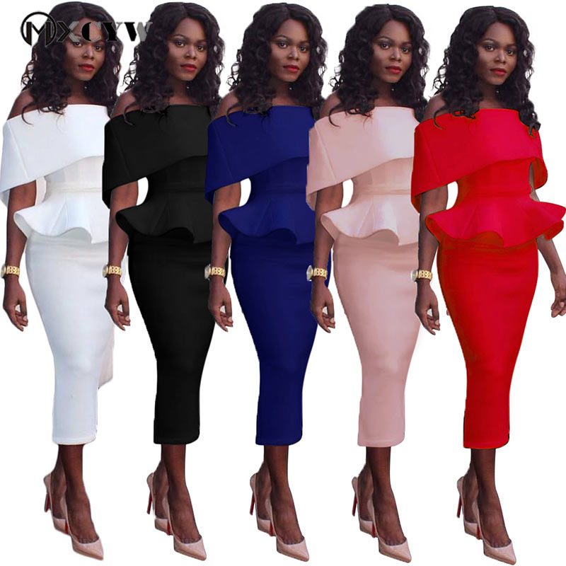 <font><b>2018</b></font> Solid Strapless <font><b>Bodycon</b></font> Female Dress <font><b>Fashion</b></font> <font><b>Autumn</b></font> Winter Casual <font><b>Elegant</b></font> <font><b>Sexy</b></font> Package Hip Long Dresses <font><b>Women'S</b></font> Clothing image