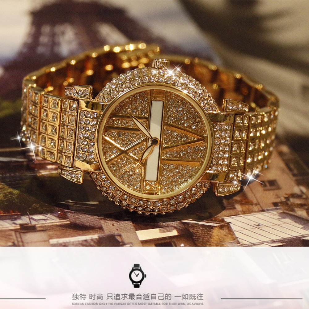 New Arrivals Famous BS Brand Full Crytal Women 14K Gold Watch Lady Luxury Full Diamond Dress Watch  Rhinestone Bangle Bracelet 2017 new arrivals famous brand full diamond luxury women watch lady dress watch rhinestone bling crystal bangle watches female