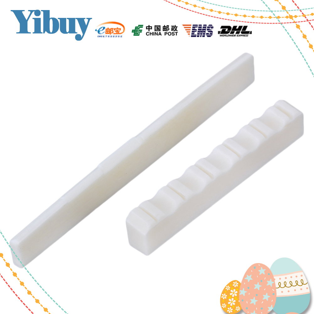 Yibuy White Guitar Bone Bridge Saddle and 52mm Slotted Nut for Classical Guitar цены онлайн