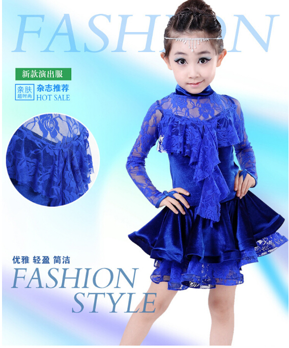 120-160cm hot selling rumba latin dance dress tango samba cha-cha blue lace competition professional girl child dress costume