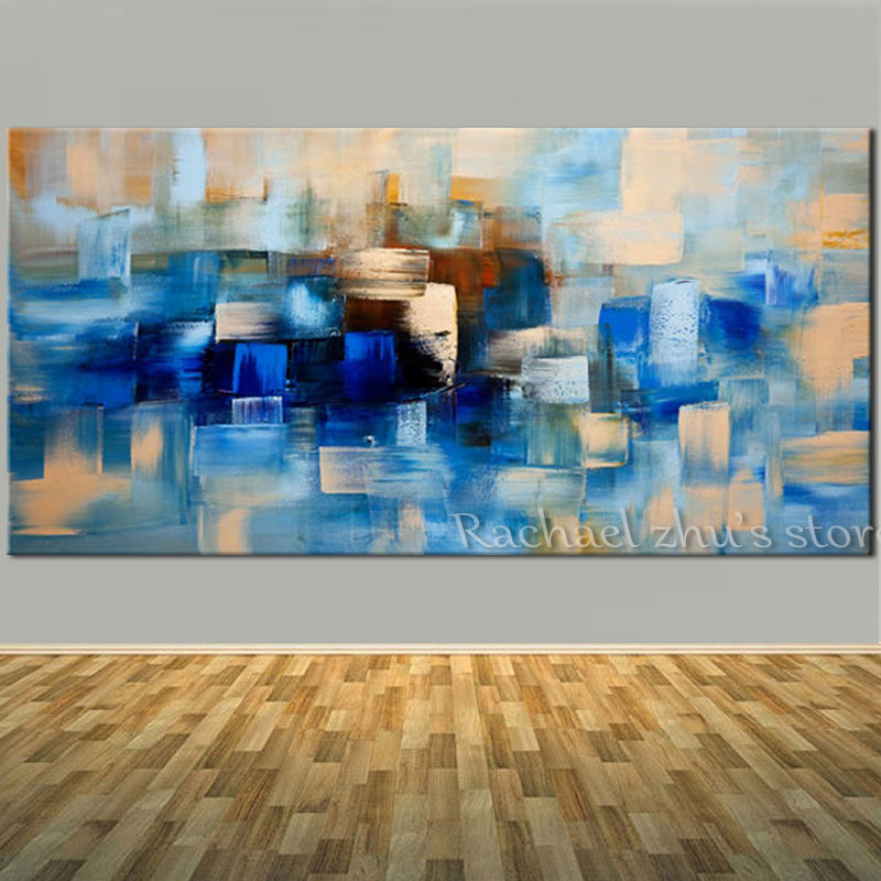 Buy Hand Painted Abstract Blue Oil Painting On Canvas Palette Knife Abstract Art Wall Pictures For Living Room Bedroom Home Decor for $34.49 in AliExpress store