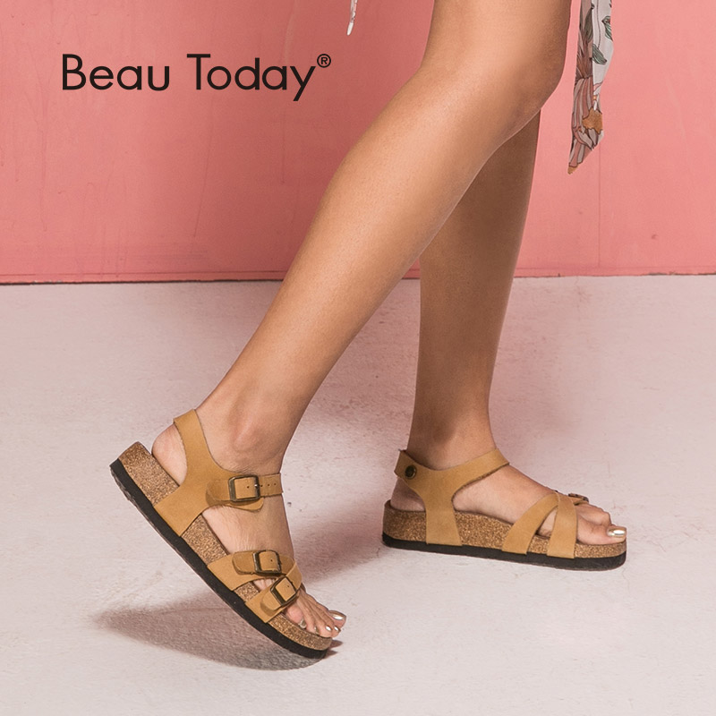 BeauToday Sandals Women Summer Casual Good Quality Genuine Cow Leather Buckle Strap Female Flat Heel Shoes