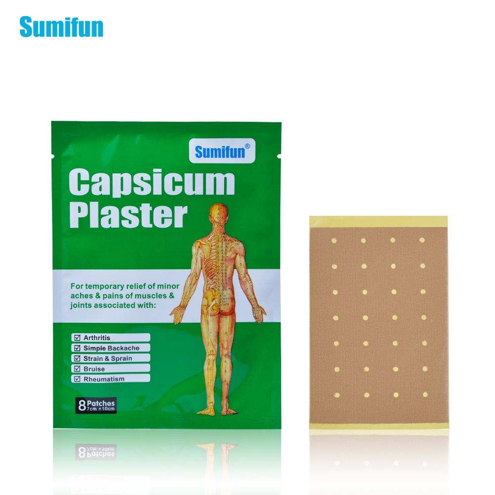 Sumifun 8Pcs/Bag Capsicumplaster Muscle Strain & Sprain And Back Pain Joint Pacth Body Massage Health Care K02001