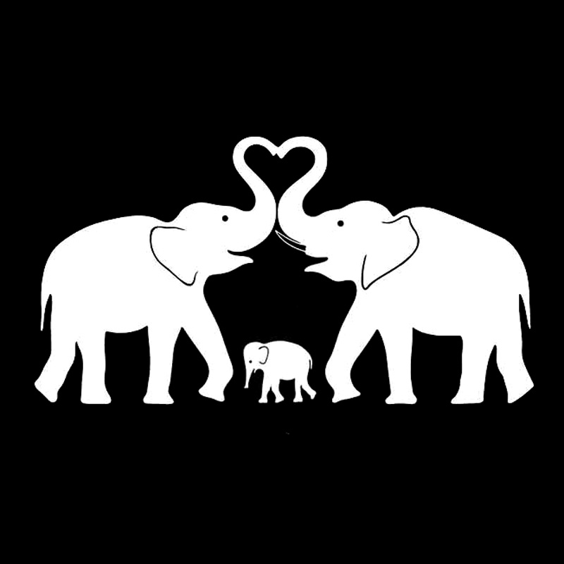 17cm92cm Elephant Family Love Fashion Decor Car Sticker Vinyl Decal Black Silver S3 7041 In Stickers From Automobiles Motorcycles On Aliexpress