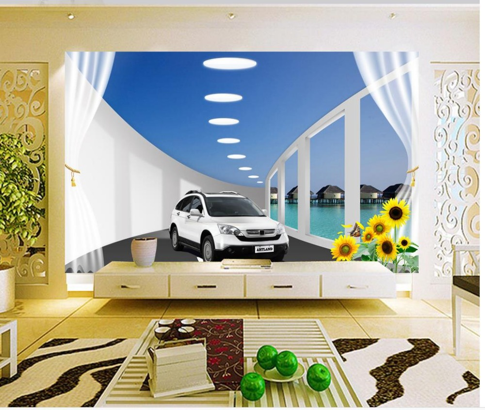 Modern Living Room Murals online get cheap 3d wallpaper walls cars -aliexpress | alibaba