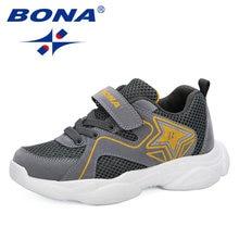 Bona 2019 новые дизайнерские Детские сетчатые кроссовки для