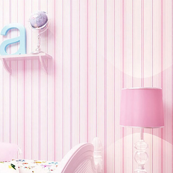 Non-woven Wallpaper Mediterranean Style Pink Blue Stripes 10m Wall Paper Roll Decor For Children Boy Girl's Bedroom Sitting Room beibehang children room non woven wallpaper wallpaper blue stripes car environmental health boy girl study bedroom wallpaper