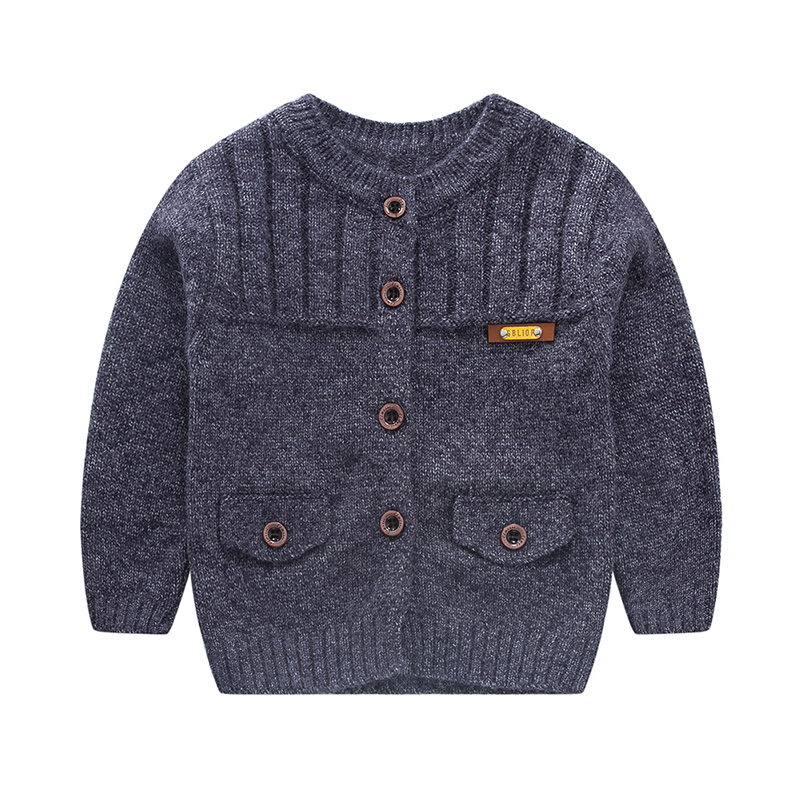 все цены на Casual Crochet Baby Sweater For Boys Solid Warm Autumn Cardigan Knitted Kids Long Sleeve Sweater School Coat Baby Boys Clothing